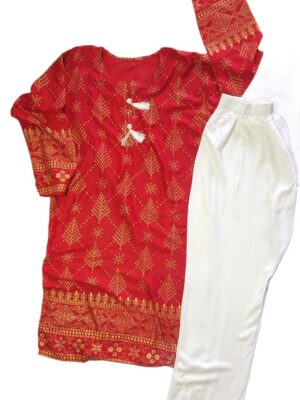 Red Women's Kurti with White Trousers